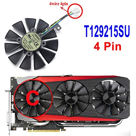 Amazon.com: inRobert 87mm T129215SU Graphics Card Cooling Fan for ASUS Strix GTX980Ti/R9390/RX480/RX580 Video Card Cooler (Fan-C): Computers & Accessories