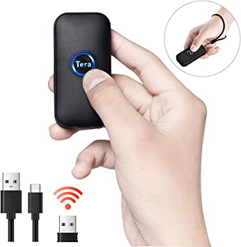 Mac OS 1D 2D QR Portable Wearable Ring Finger Mini Bar Code Reader Versatile 3-in-1 Compatible with BT /& 2.4GHz /& USB 2.0 Work with Windows Android 4.0+ 1 MP Camera Tera Wireless Barcode Scanner