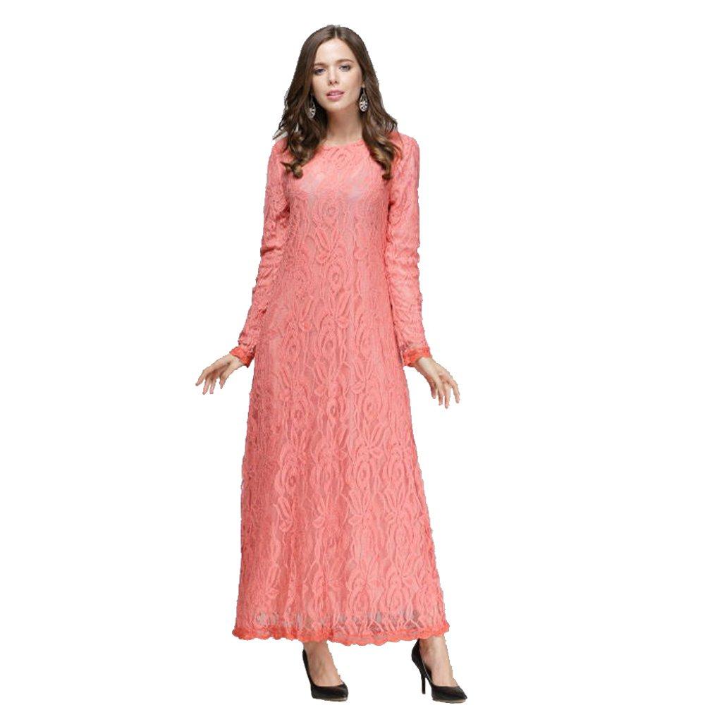 XFentech Womens Fashion Muslim Dress Long Sleeve Slim Lace Kaftan Abaya Middle East Islamic Clothing Long Maxi Dress