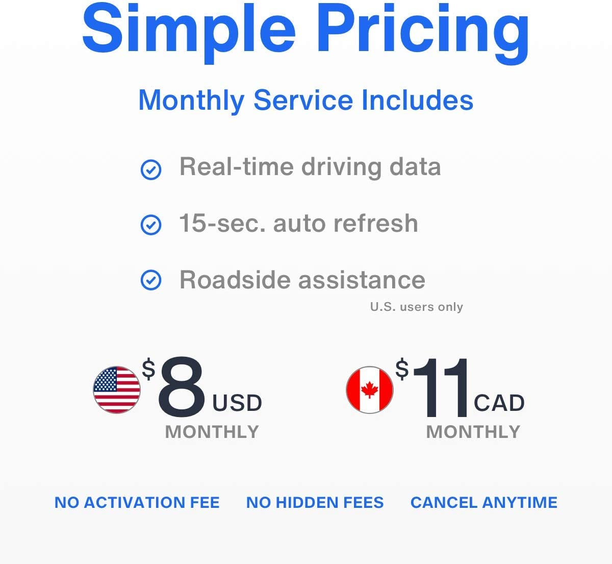 Driving Connected – GPS Location – Route History – Speed Monitoring – GeoFence – Roadside Assistance – Engine Diagnostics – Family or Fleets – No Activation Fees – Cancel Anytime