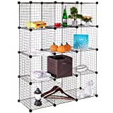 Wire Storage Cubes, MaidMAX Free Standing Modular Shelving Units Closet Organization Systems, 12 Wire Grids, Black