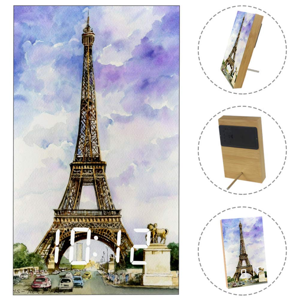 Amazon.com: Paris Watercolor LED Digital Alarm Clock with ...