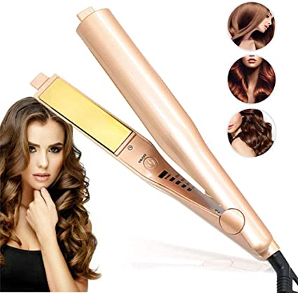 Professional Hair Straightener, 2 in 1 Ceramic Tourmaline Lonic Flat Iron for All Hair Styling, Hair Curler Iron with Rotating Adjustable Temperature