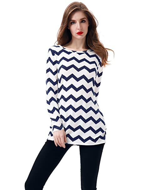 13d11b90be2ae Aphratti Women's Long Sleeve Zig-Zag Pattern Loose Fit Print Shirt Tunic  Top Small Navy