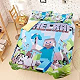 100% Cotton, 3pcs Minecrafts Duvet Cover Set Bedding Set for Children,Green Cotton Health and Comfort, Breathable and non-fading,Extremely Durable- 1 Duvet Cover + 2 Pillow Shams Full,Blue