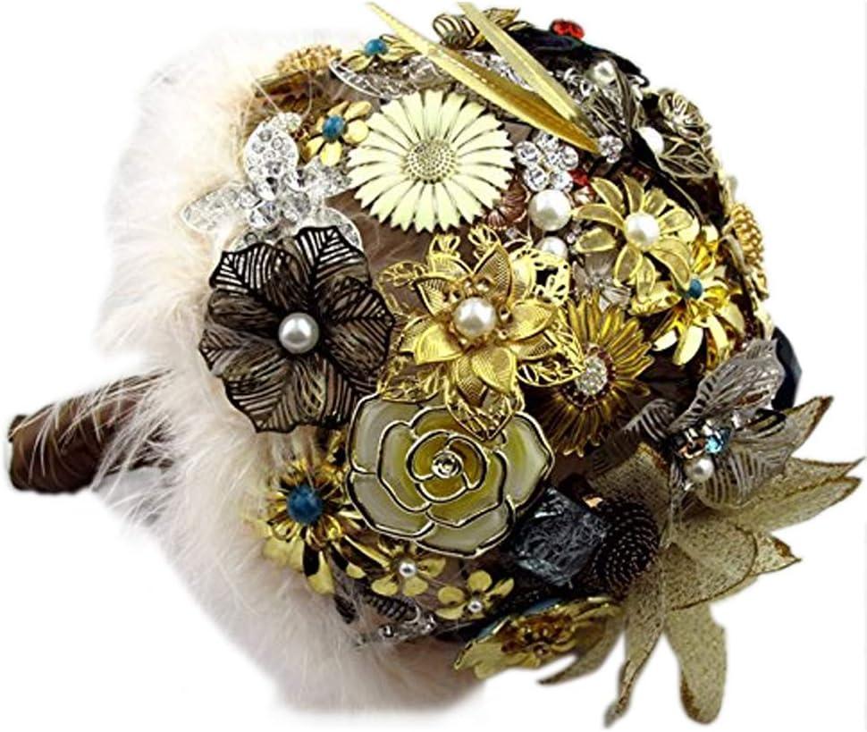 MANY COLORS Fabric flower Bridal bouquet Wedding bouquet Vintage bouquet Bridal brooch bouquet Feather bouquet Blush /& Gray bouquet