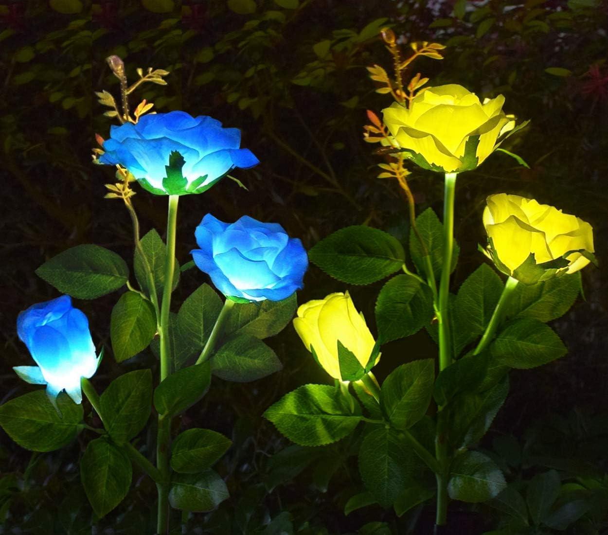 AB AttaBoy Solar Garden Rose Light, Solar Powered Garden Flower Lights, Waterproof LED Outdoor Solar Rose Stake Light for Garden, Courtyard,Backyard Decoration 2 Pack, Blue Yellow