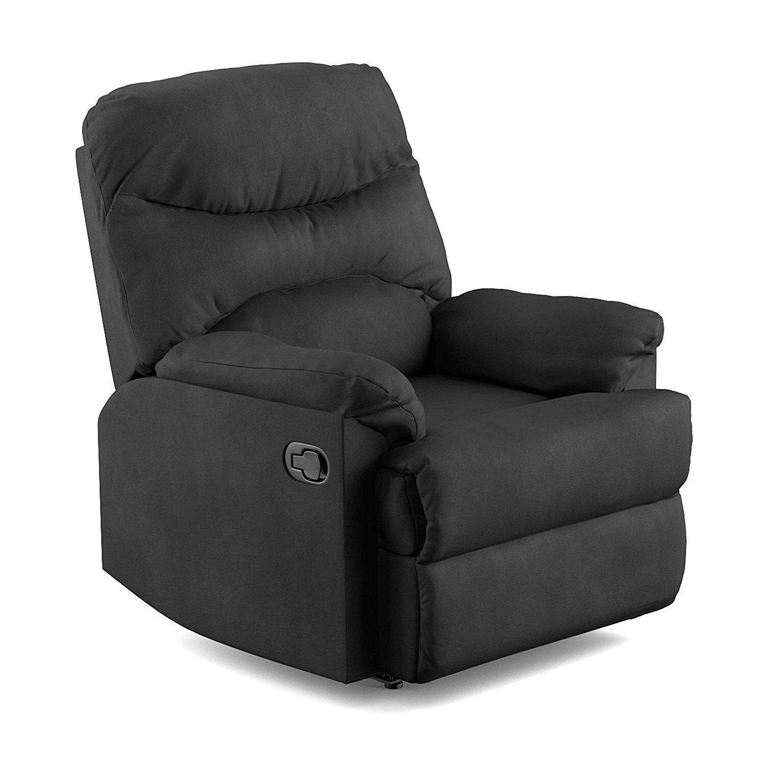 Black Wall Hugger Microfiber Recliner with Ultra Padded Armrests Full Chaise Pad Between The Chair and The Leg Rest Comfortable Lounger Perfect for Living Room Theater Or Media Room Use Space Saving by Valeur
