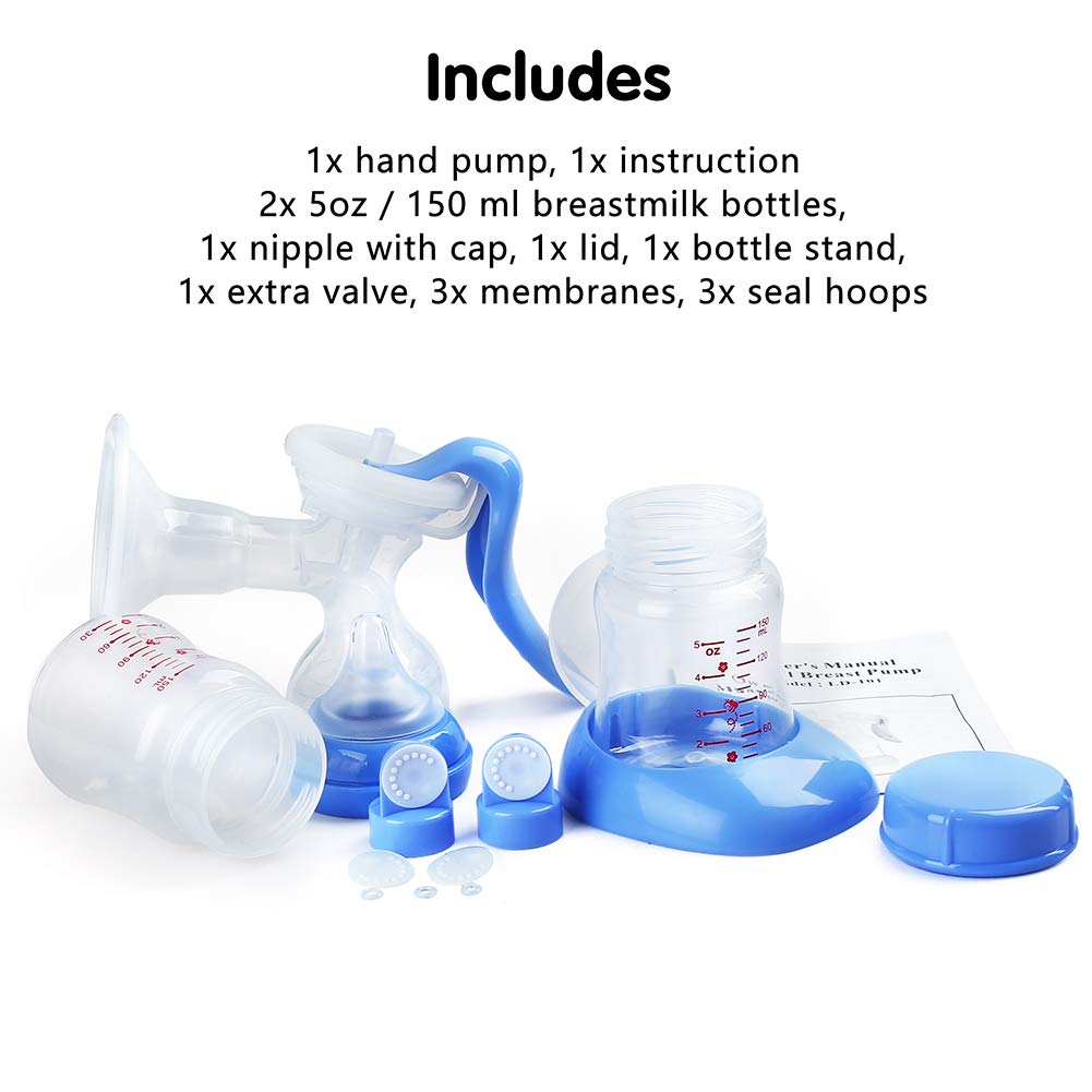 Quiet Portable Milk Pump Kit by LotFancy Silicone Hand Pump for Breastfeeding Manual Breast Pump BPA Free with 2-Pack 5oz Breastmilk Bottles and Nipple 2-Speed Pump Design