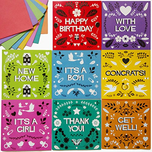 Lovely Retro 48 Pack Assorted Greeting Cards with Envelopes, All Occasion Greeting Cards: Happy Birthday, Thank You, Congrats!, It's a Boy, It's a Girl, Get Well, With Love, New Home