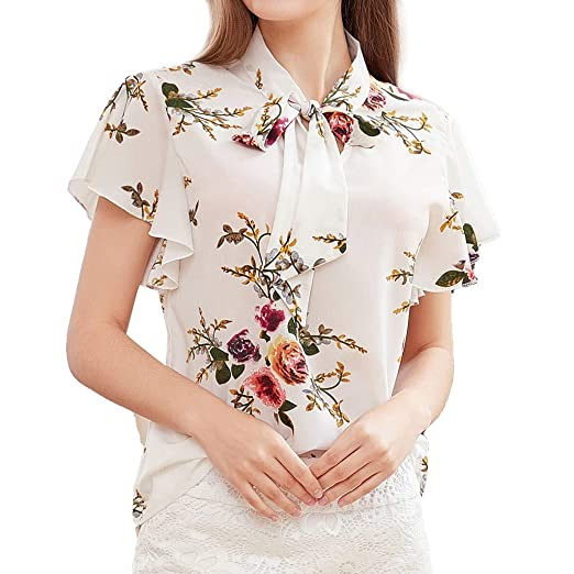 ddb7ca1d698 Womens Tops Short Sleeve Bow-Knot Neck Floral Printing T Shirt Casual Loose  Blouse (