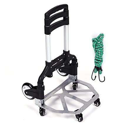 ASdf Portable Aluminum Trolley Adjustable Height Casters Trolley Outdoor Travel Shopping Folding Trolley