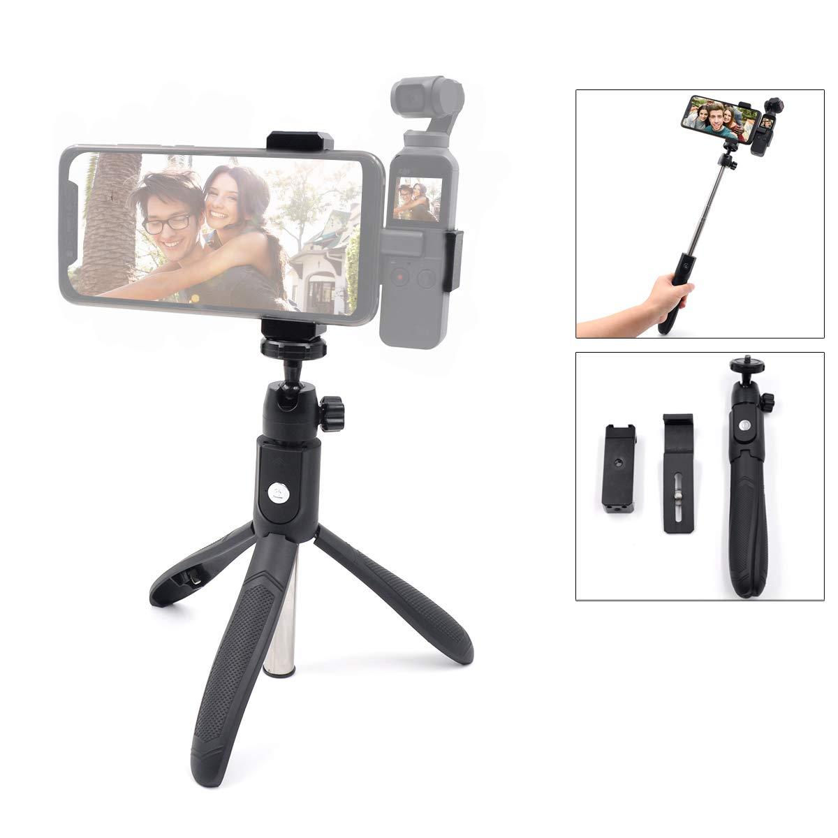 Flycoo 63cm Télescopable Trepied/Selfie bâton + Téléphone Portable Support Adapteur + pour DJI OSMO Pocket Caméra Support Accessoires