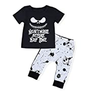 Toddler Baby Boy Clothes 2Pcs Newborn Outfit Set Letter Printing Skull T-Shirt and Pants Clothing Set(12-18 M) Black