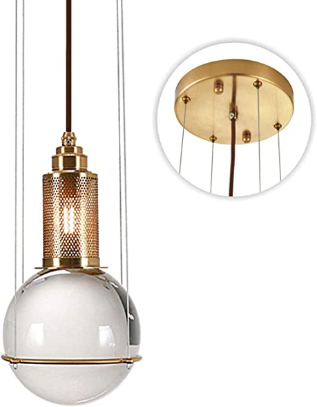 Modo Lighting Glass Globe Pendant Light Mid Century Modern Ceiling Light Adjustable Chandelier