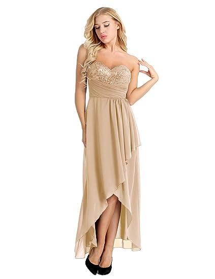 bb77a054d1183 YiZYiF Femme Longue Robe à Paillettes Robe de Cérémonie Asymétrique Robe  Soirée Bustier Robe Demoiselle d
