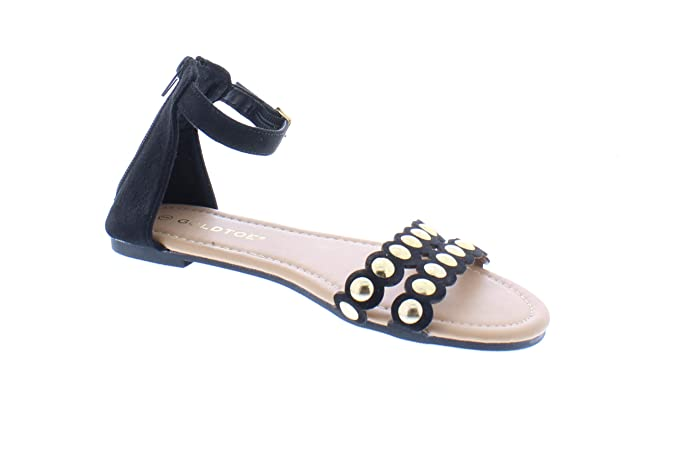 d2c69058e2c Amazon.com: 26 Accessories Women's Scalloped Sandal with Gold Studs,Strappy  Sandals for Women,Summer Flats,Size 6-10: Shoes
