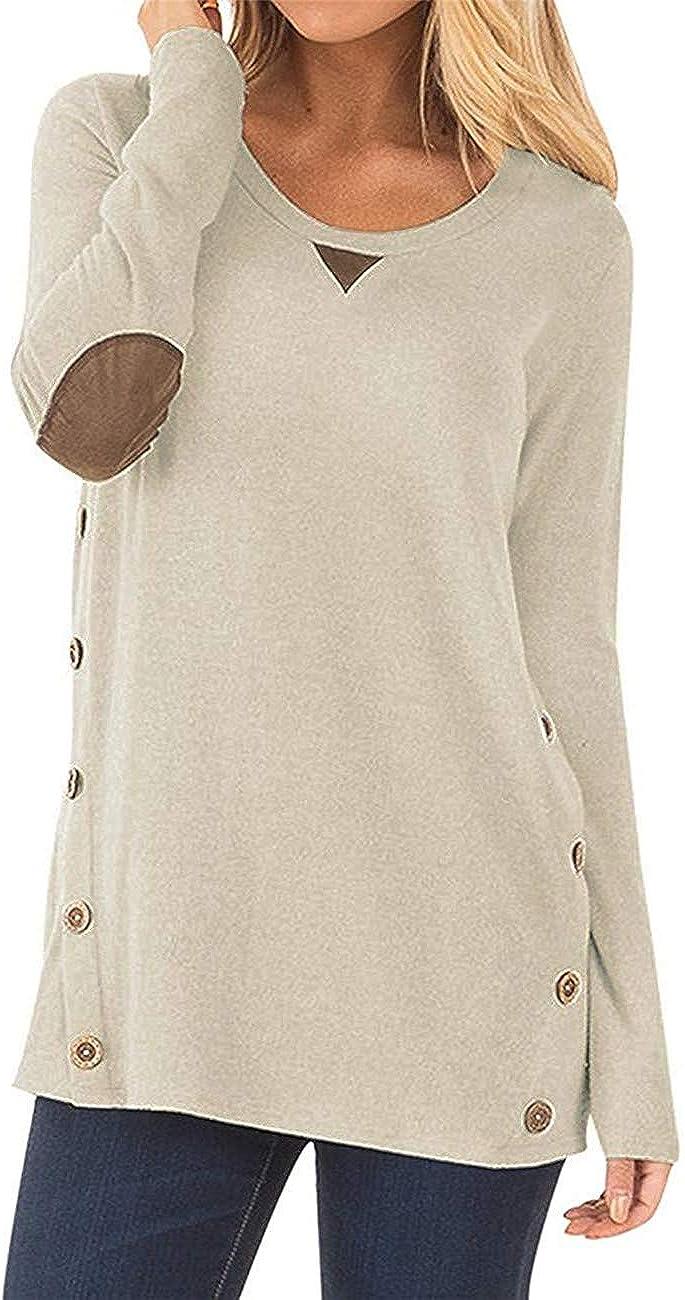 Luranee Women's Long Sleeve Buttons Side Casual Blouses Sweatshirts Tunic Tops