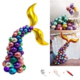 Amycute 54 PCS Mermaid Tail Metallic Balloons,12 Inch Latex Balloons,Birthday Party,Wedding Balloon Arch Kit,Sea Party,Baby Shower Decorations Supplies