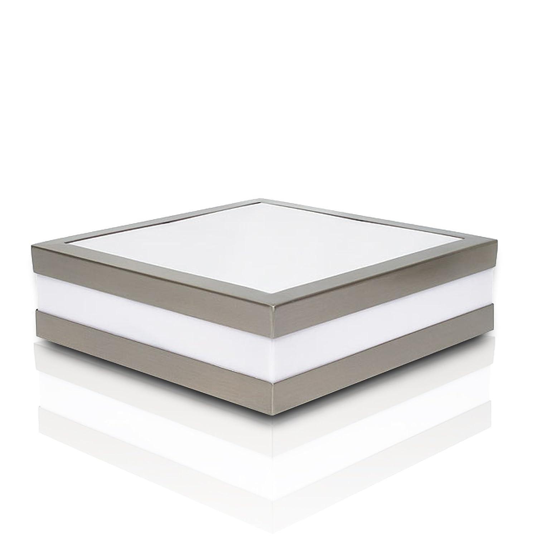 2er Set Wandleuchte Deckenleuchte SAVONA eckig   quadratisch IP44 LED E27; 230V Set inkl. je 2x 14W LED (je 1250 Lumen); für Wohnraum, Bad, Flur, Wand, Decke; für bis zu 2x18 Watt