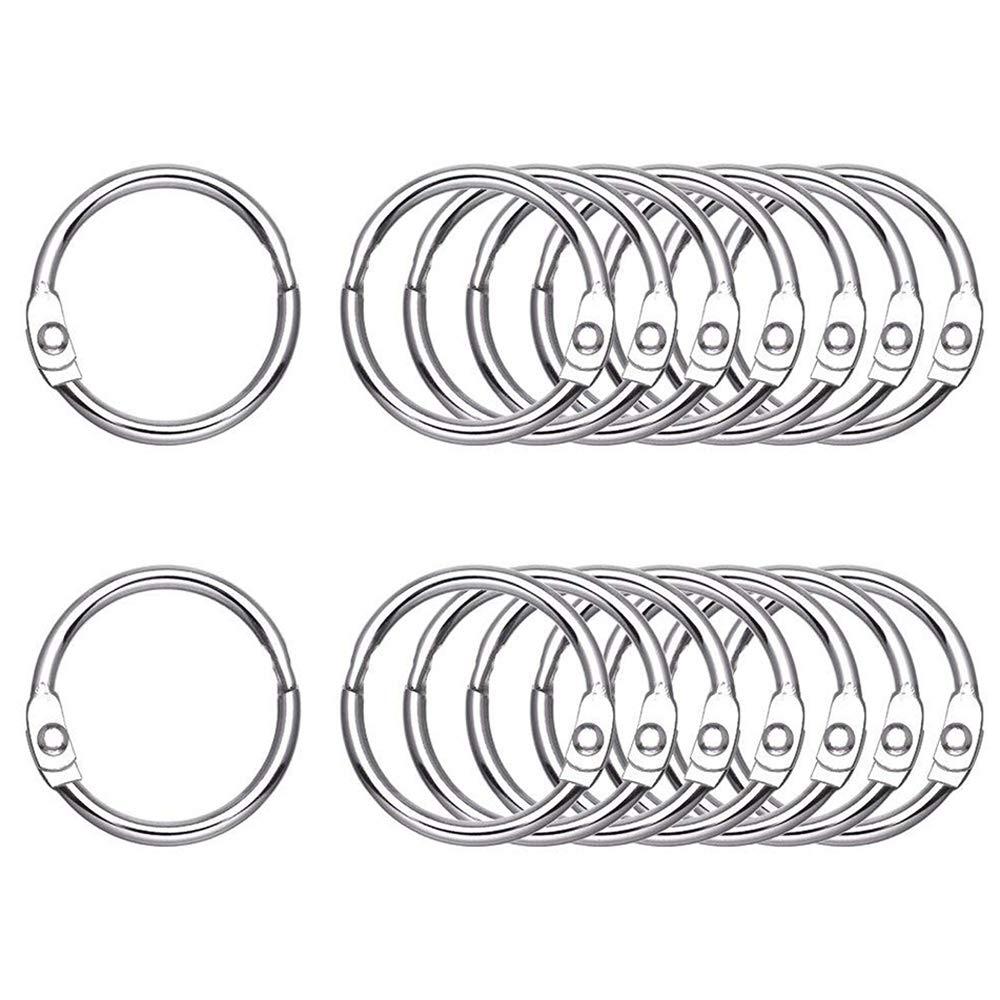 Antner 100 PCS Loose Leaf Binder Rings 1.2 Inch Nickel Plated Book Rings Key Rings Key Chains for Home School Office
