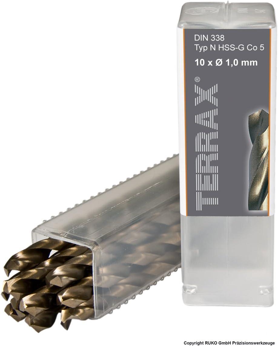 Ruko Terrax Spiral Drill HSS-CO5 1 mm in a 10 Pack