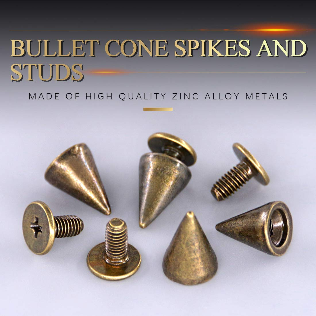 Swpeet 110 Pairs Sliver 7mm x 9.5mm Bullet Cone Spike and Stud Metal Screw Back for DIY Leather Craft Cool Rivets Punk Stud Coincal Layer