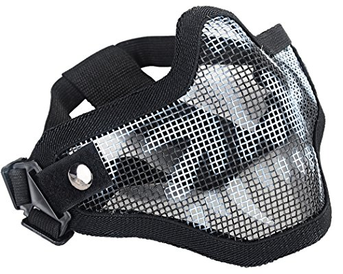 - Coxeer Mesh Half Face Skull Mask Striker Steel Airsoft Mask Tactical Lower Face mask (Black) (Mesk Mask) (Airsoft Mask)
