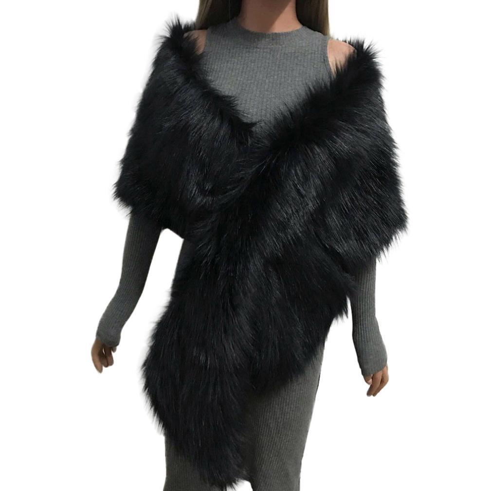 Forthery Christmas Gift, Long Bridal Wedding Faux Fur Long Shawl Stole Wrap Shrug Scarf (Black)