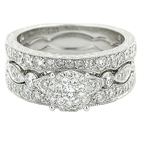 (14K White Gold Bridal Set 1.40ctw Diamonds Filigree Sides Round Top Engagement Ring With 2 Matching Bands)