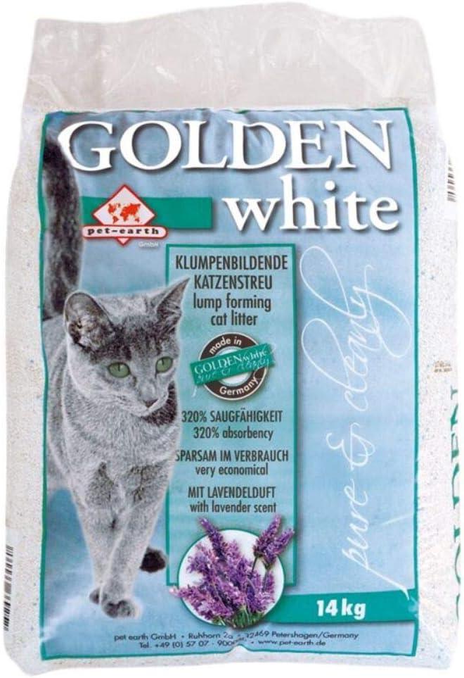 Arena para gatos Golden White con aroma a lavanda, 28 kg, antibacteriana, desechable e hipoalergénica, gránulos finos con control de olor, fórmula desodorante combinada con 4 bolas de juguete Trixie Nub: Amazon.es: