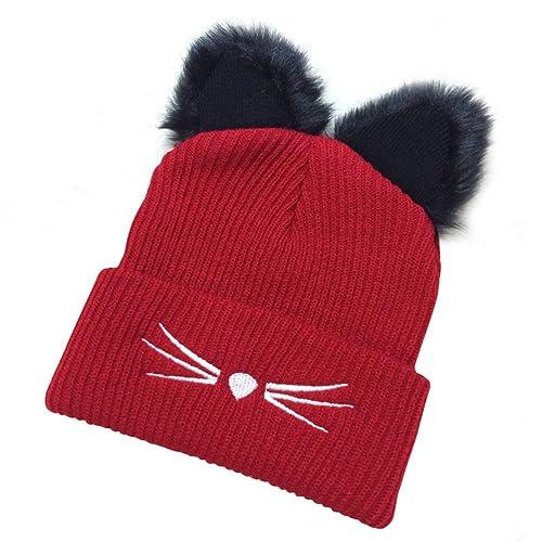 Gorros de punto OULII mujeres invierno Crochet sombrero con doble Pom Pom (Rojo)