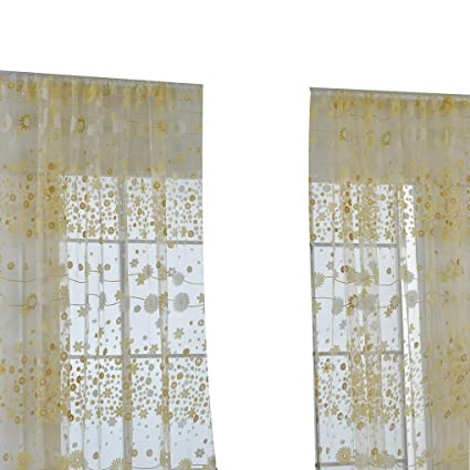 Amazon.com: Boyouu Flower Printed Curtain Translucent Window ...