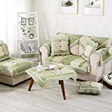 Olpchee Decorative 1 Piece Rural Style Floral Thicken Cotton Sofa Slipcover Towel Cover Non Slip Couch Protectors for Sofa Seat/Sofa Arm (70x70cm, Green)