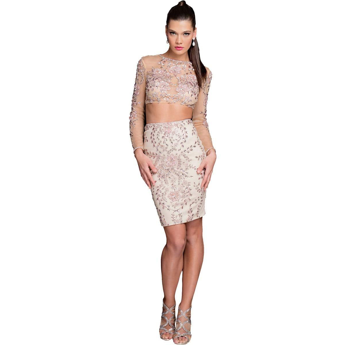 Terani Couture Two-Piece Cap-Sleeved Beaded Crop Top Short Dress