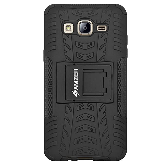 AMZER Impact Resistant Hybrid Warrior Case for Samsung Galaxy On7, Samsung Galaxy On7 Pro G-600FY - Black