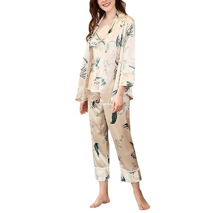 Zhhlaixing Mujeres Juego de pijamas de satén ropa de dormir de tres piezas ropa de noche