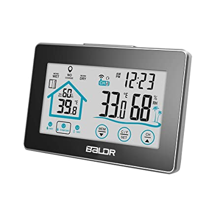 CHRRI Reloj Inalámbrico Digital De Tiempo Interior Y Exterior De Temperatura Y Humedad Medidor De Interior