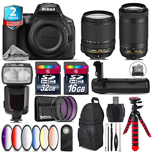 Holiday Saving Bundle for D5600 DSLR Camera + AF-P 70-300mm VR Lens + 18-140mm VR Lens + Flash with LCD Display + Battery Grip + 6PC Graduated Color Filter + 2yr Warranty - International Version by TriStateCamera