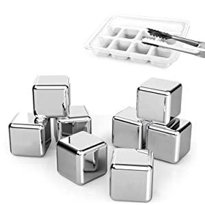 DERNORD Exclusive Stainless Steel Whiskey Stones - High Cooling technology Ice Cubes Chilling Rocks Reusable Wine Stone Durable Beer Drink Freezer Cooler Rock for Christmas and Birthday Gifts