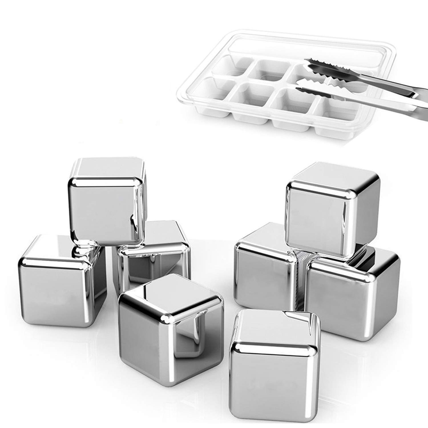 Exclusive Stainless Steel Whiskey Stones - High Cooling technology Ice Cubes Chilling Rocks Reusable Wine Stone Durable Beer Drink Freezer Cooler Rock