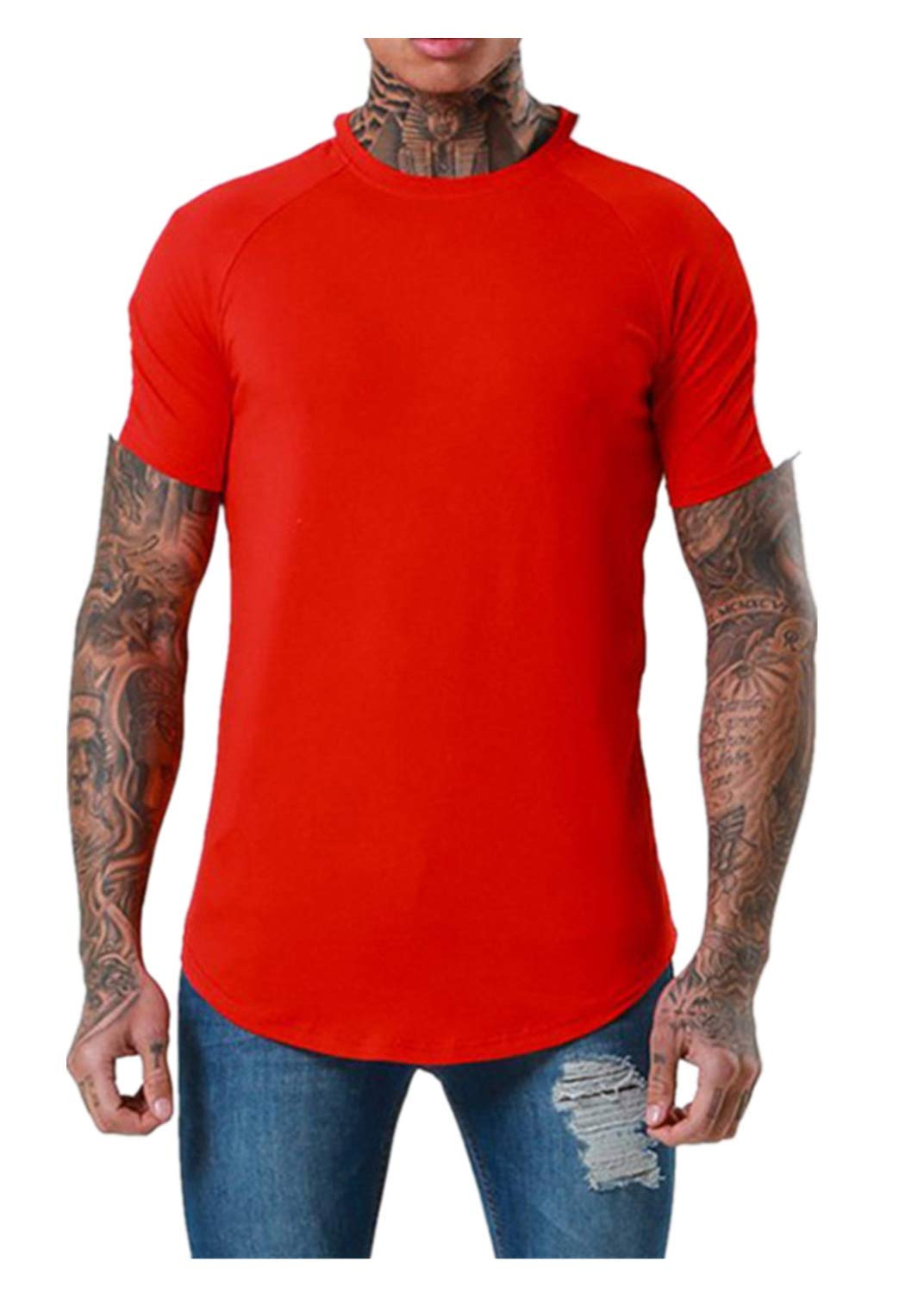 Men's Fashion T Shirts Stitching Two Color Slip Shoulder Round O-Neck Casual Top Blouses (M, Red)