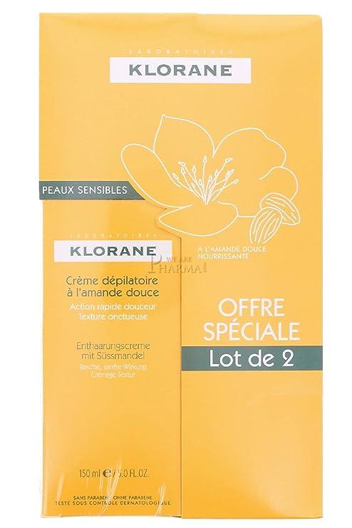 Klorane Crème dépilatoire à lAmande Douce 2x150ml