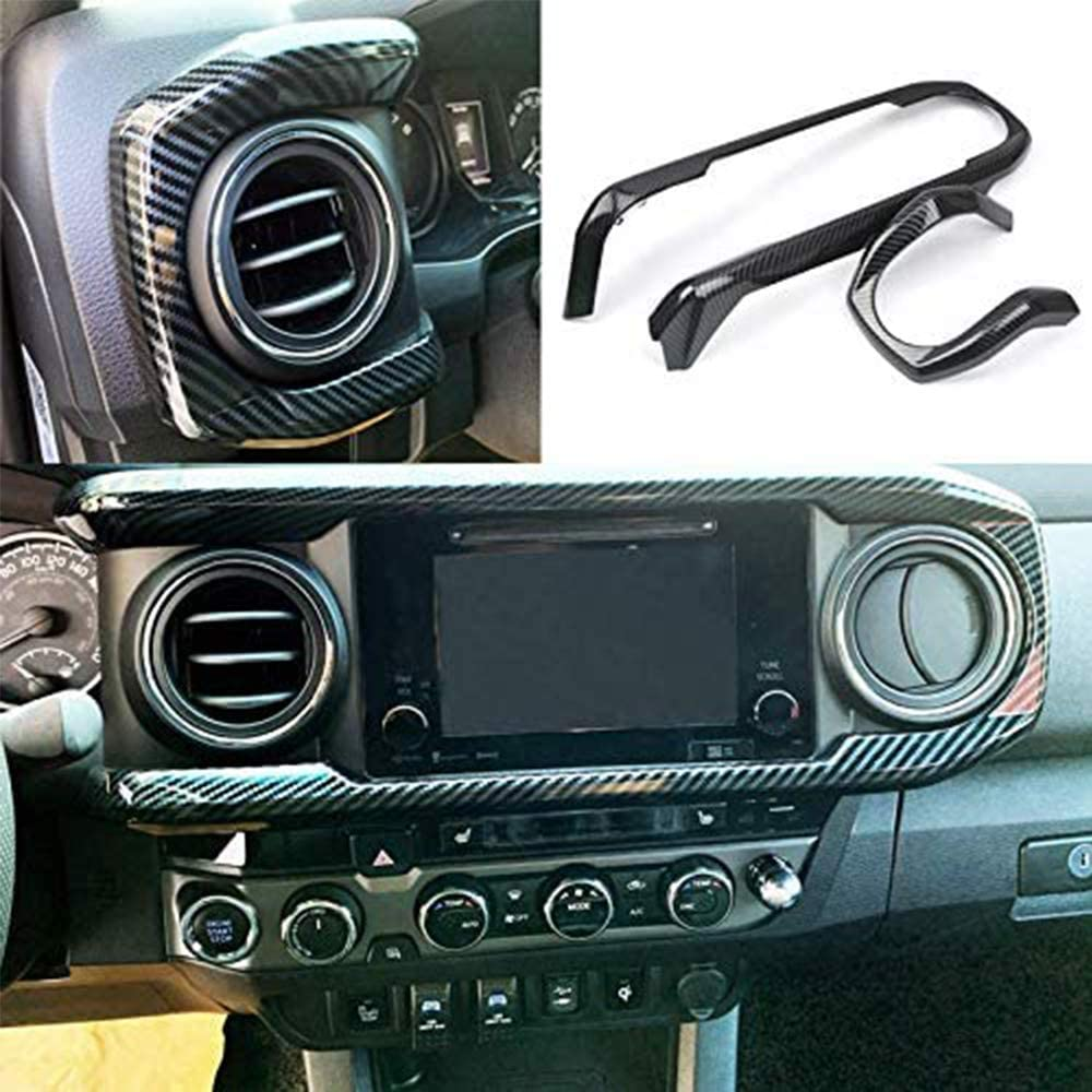 ITrims LHD for Toyota Tacoma 2016-2019 ABS Accessories Central Console Dashboard Dash Panel Cover Trim Carbon Fiber Look