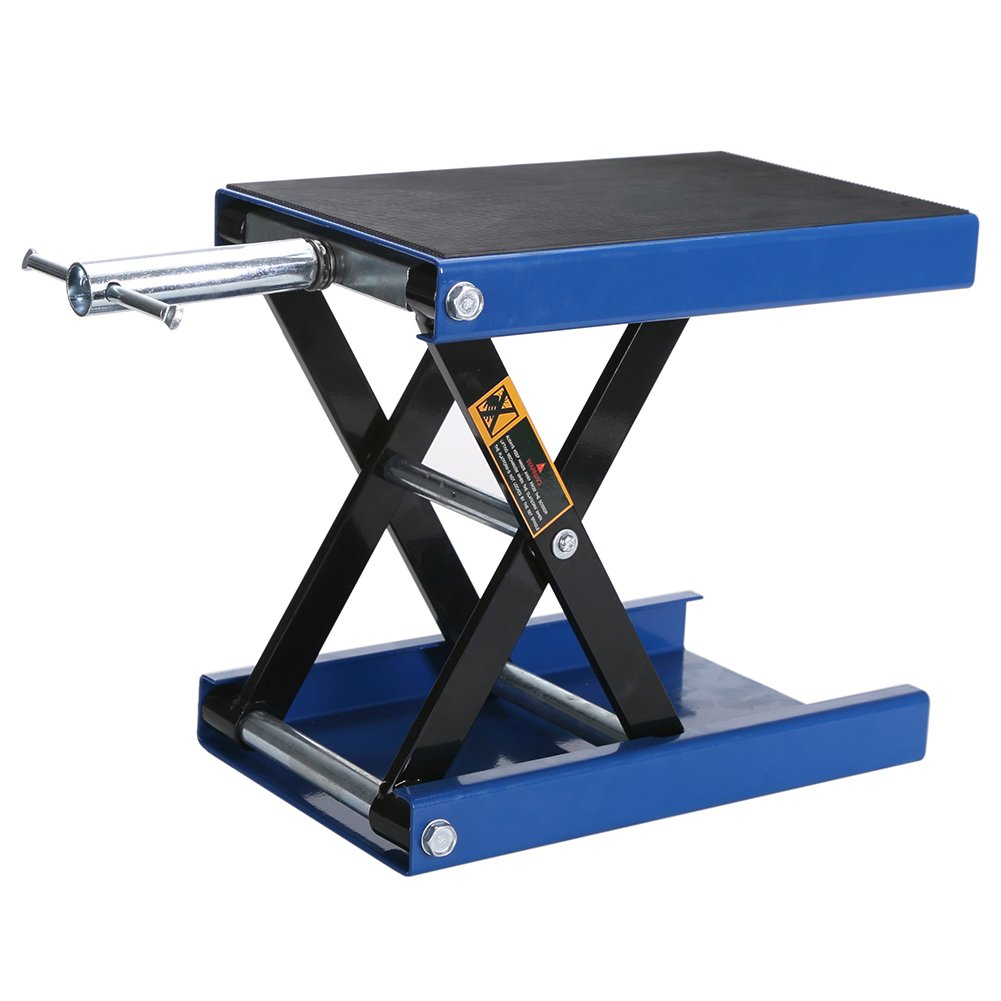 BAISHITE Wide Motorcycle Lift Scissor Jack - 1100 lb. Blue Sturdy Steel