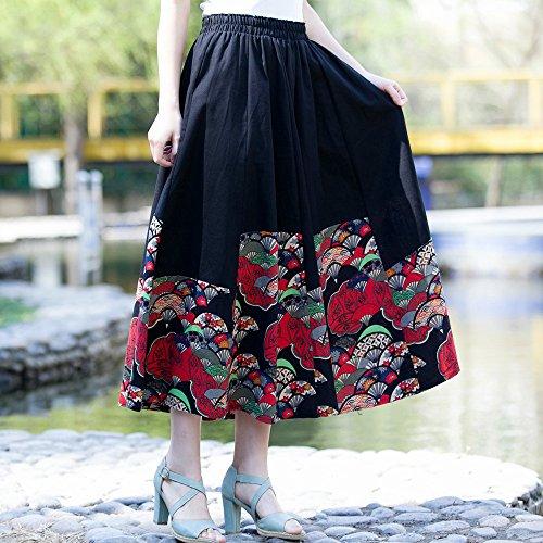 Elastique de Tour Jupe Line OCHENTA Bohemian taille Floral A Femme Noir gz6wp6
