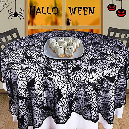 certainPL Rectangular/Round Polyester Lace Tablecloth, Black Spider Web, Perfect for Halloween, Dinner Parties and Scary Movie Nights (70inch)