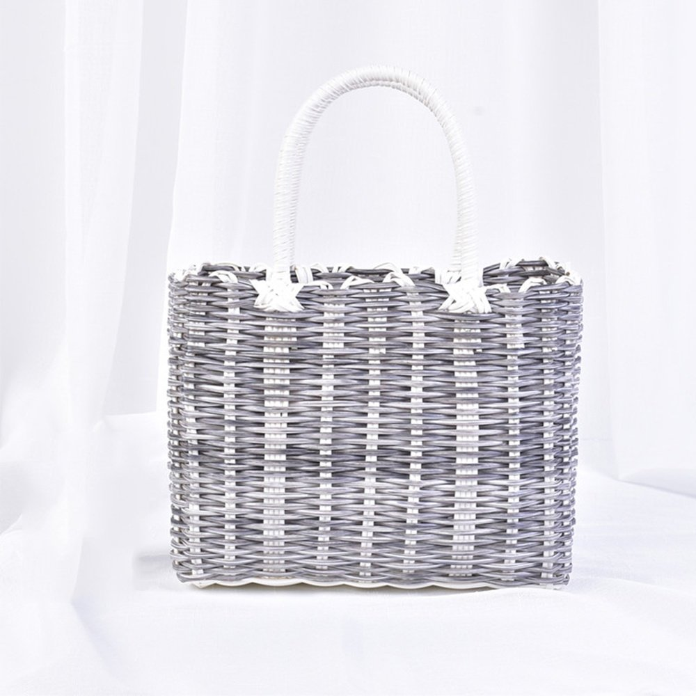 SEESUNG Plastic Woven Bath Blue Bathroom Storage Basket Basket Baby Portable Basket Basket Hanging Basket Flower Basket, Grey