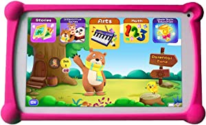 Kids Tablets, B.B.PAW 7 inch 1G+8G WiFi Android Tablet with Additional 120+ English Preloaded Learning&Training Apps and Protective Case for Kids-Red