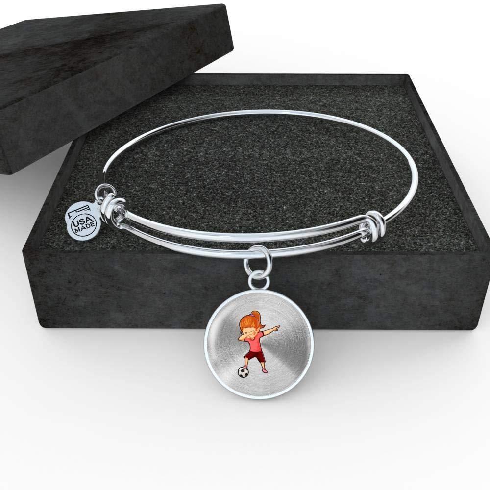 Dabbing Gifts Soccer Lovers Football Players Soccer Girl Womens Pendant Bangle Bracelet
